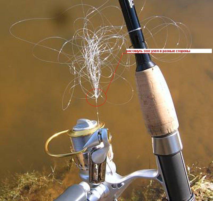 запутанная рыболовная леска
