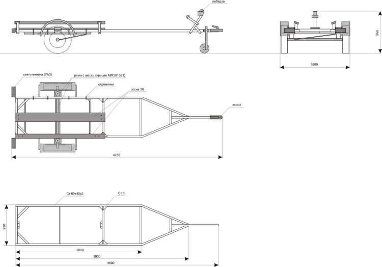Изготовление прицепа-трейлера для мотолодки собственными силами