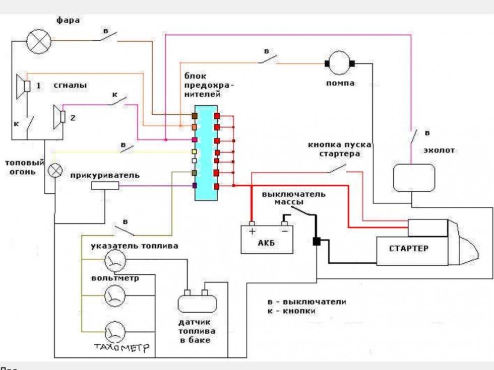схема электричества в лодке