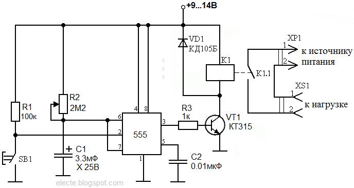 Схема таймера на микросхеме 555