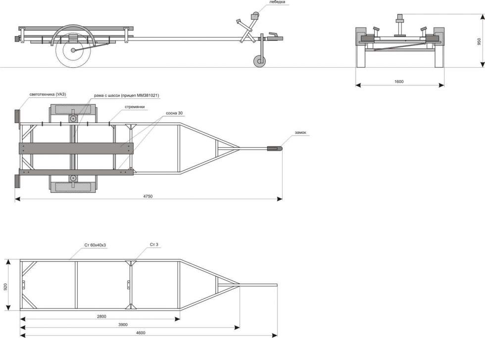 прицеп для пвх лодки чертеж