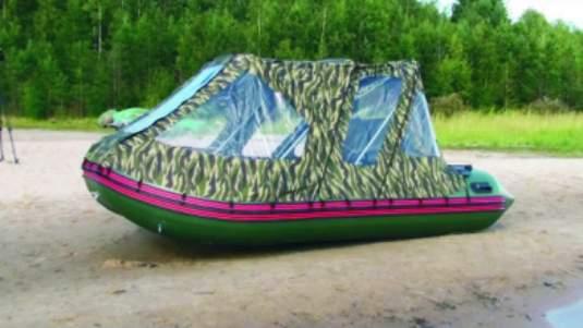 тент на надувную лодку видео