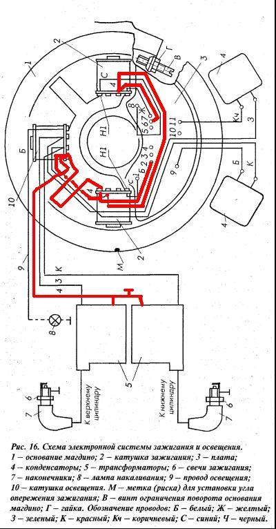 схема самодельное электронное зажигание ветерок 8