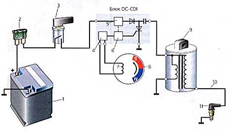 Схема зажигания, работающего